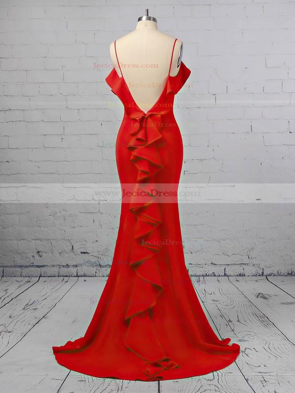 Trumpet/Mermaid Square Neckline Satin Sweep Train Cascading Ruffles Prom Dresses #JCD020106411