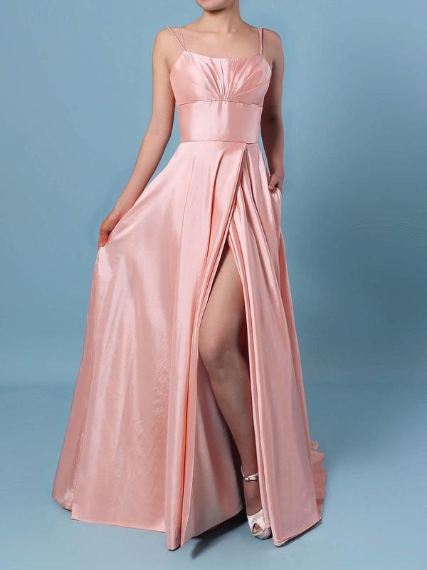 A-line Square Neckline Satin Sweep Train Pockets Prom Dresses #JCD020106414