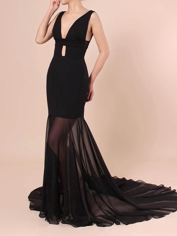 Trumpet/Mermaid V-neck Chiffon Silk-like Satin Sweep Train Split Front Prom Dresses #JCD020106420