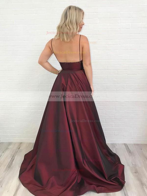 Satin A-line V-neck Sweep Train Pockets Prom Dresses #JCD020106434