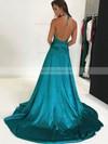 Silk-like Satin A-line Halter Sweep Train Split Front Prom Dresses #JCD020106435