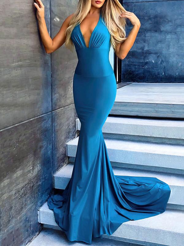 Jersey Trumpet/Mermaid Halter Sweep Train Ruffles Prom Dresses #JCD020106451