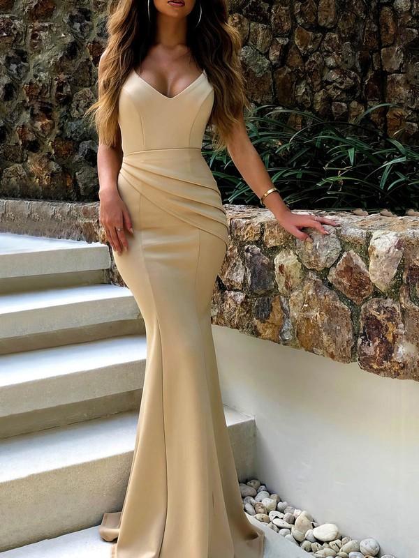 Satin Trumpet/Mermaid V-neck Floor-length Ruffles Prom Dresses #JCD020106453