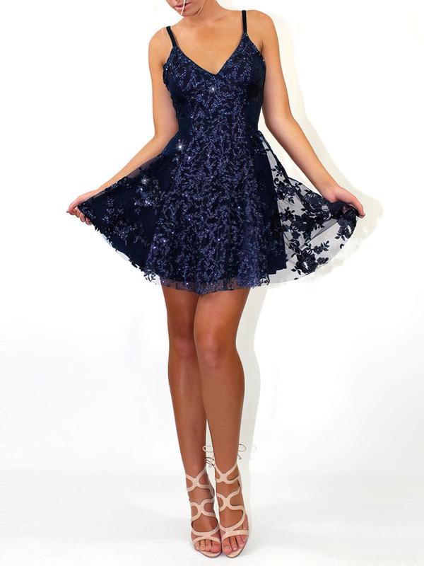 Tulle A-line V-neck Short/Mini Sequins Prom Dresses #JCD020106459