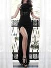 Lace Jersey Sheath/Column Scoop Neck Sweep Train Split Front Prom Dresses #JCD020106462