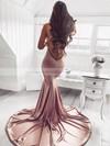 Silk-like Satin Trumpet/Mermaid V-neck Sweep Train Ruffles Prom Dresses #JCD020106463