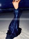 Sequined Trumpet/Mermaid Halter Sweep Train Prom Dresses #JCD020106464