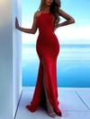 Silk-like Satin Trumpet/Mermaid Scoop Neck Sweep Train Split Front Prom Dresses #JCD020106465