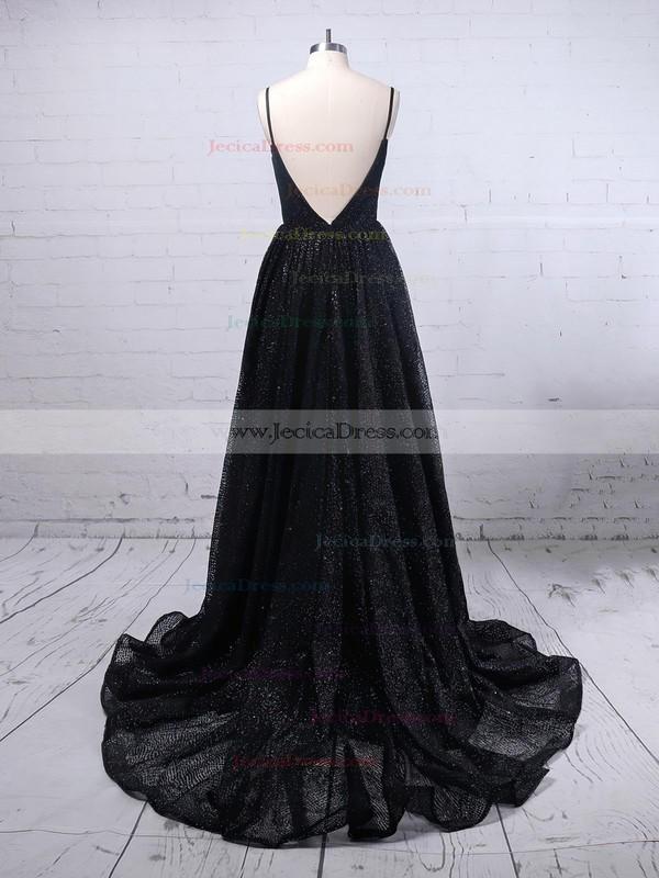 Glitter Ball Gown V-neck Sweep Train Pockets Prom Dresses #JCD020106505