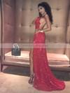 Sequined Sheath/Column Cowl Neck Sweep Train Split Front Prom Dresses #JCD020106509