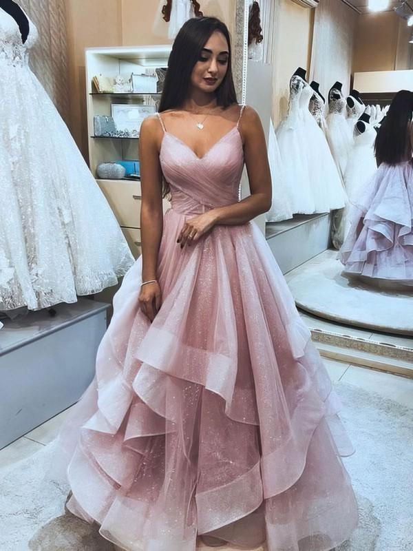 Glitter Princess V-neck Floor-length Cascading Ruffles Prom Dresses #JCD020106511