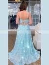 Sequined A-line Square Neckline Floor-length Split Front Prom Dresses #JCD020106518