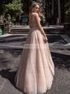 Tulle Glitter Princess V-neck Floor-length Beading Prom Dresses #JCD020106519