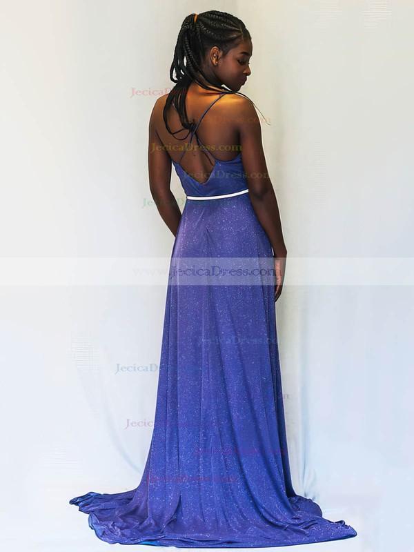 Shimmer Crepe A-line V-neck Sweep Train Sashes / Ribbons Prom Dresses #JCD020106521