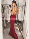 Sequined Trumpet/Mermaid V-neck Floor-length Prom Dresses #JCD020106525