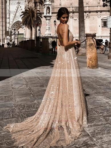 Glitter A-line V-neck Sweep Train Prom Dresses #JCD020106528