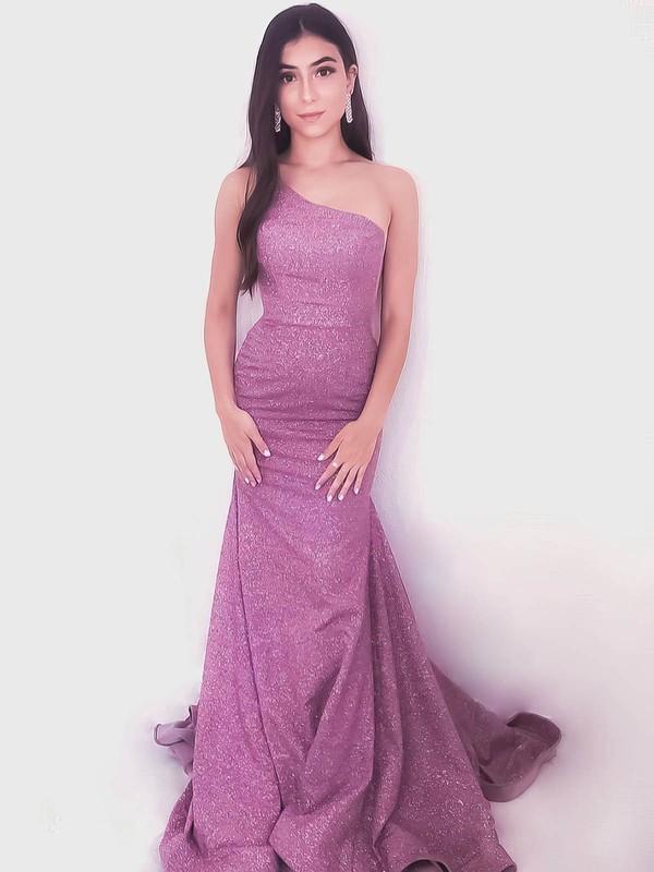 Shimmer Crepe Trumpet/Mermaid One Shoulder Floor-length Prom Dresses #JCD020106534