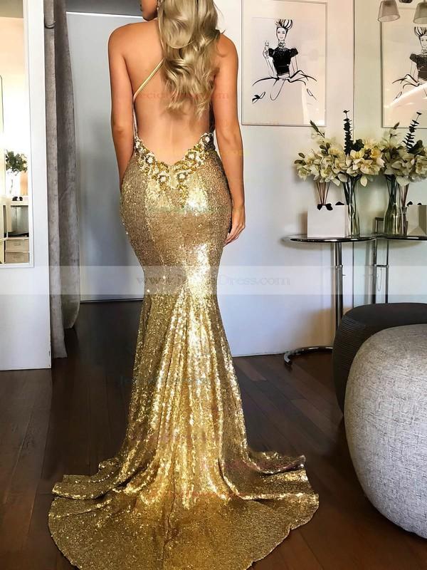 Sequined Trumpet/Mermaid Halter Sweep Train Beading Prom Dresses #JCD020106535