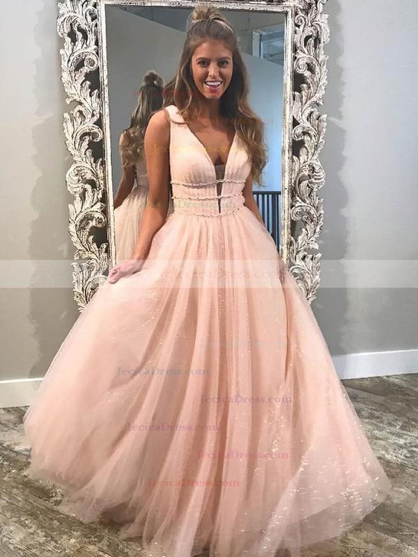 Glitter Princess V-neck Floor-length Beading Prom Dresses #JCD020106542