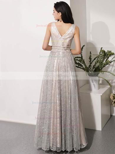 Glitter A-line V-neck Floor-length Beading Prom Dresses #JCD020106543