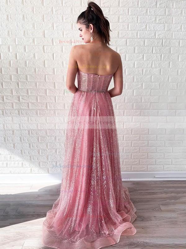 Glitter A-line Sweetheart Floor-length Beading Prom Dresses #JCD020106544