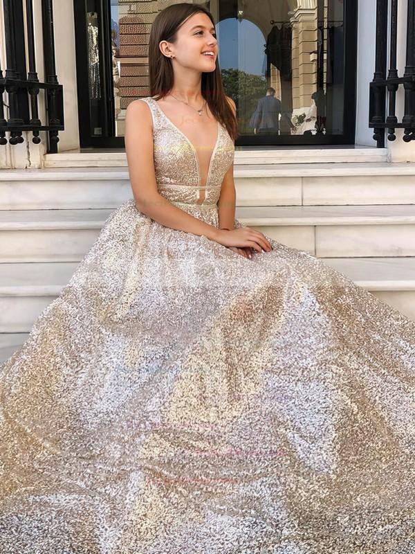 Sequined Princess V-neck Floor-length Prom Dresses #JCD020106548
