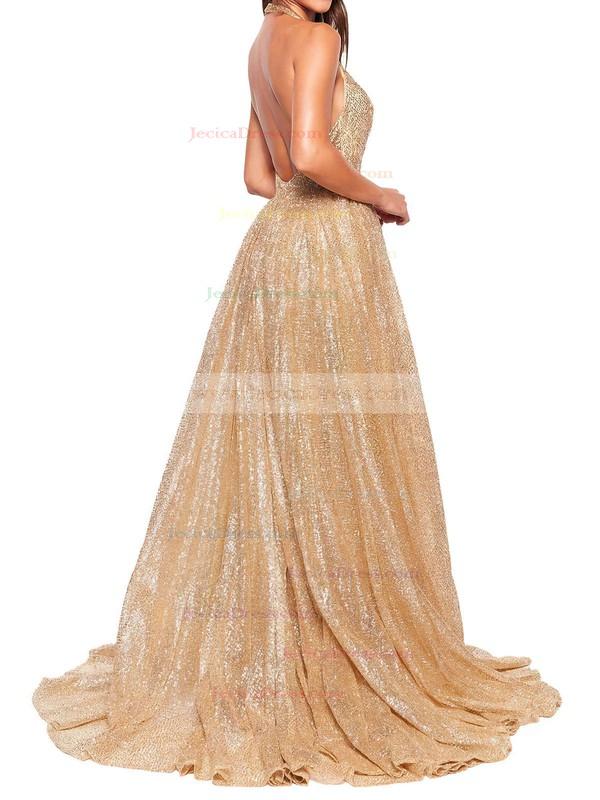 Shimmer Crepe A-line Halter Floor-length Prom Dresses #JCD020106550