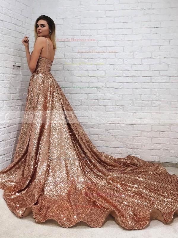 Sequined Princess V-neck Court Train Prom Dresses #JCD020106552