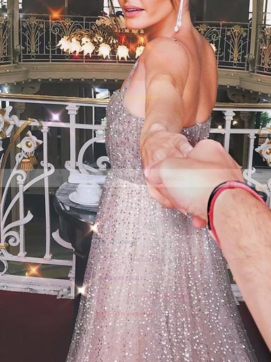 Glitter A-line Square Neckline Floor-length Prom Dresses #JCD020106553