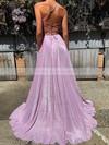 Shimmer Crepe A-line V-neck Sweep Train Pockets Prom Dresses #JCD020106554