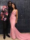 Trumpet/Mermaid Cowl Neck Shimmer Crepe Sweep Train Prom Dresses #JCD020106557