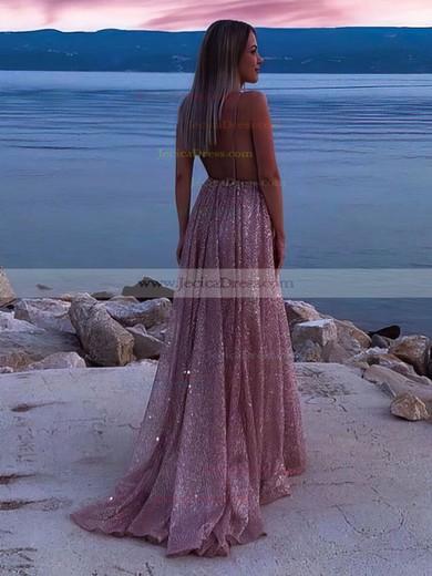 A-line V-neck Glitter Sweep Train Ruffles Prom Dresses #JCD020106556