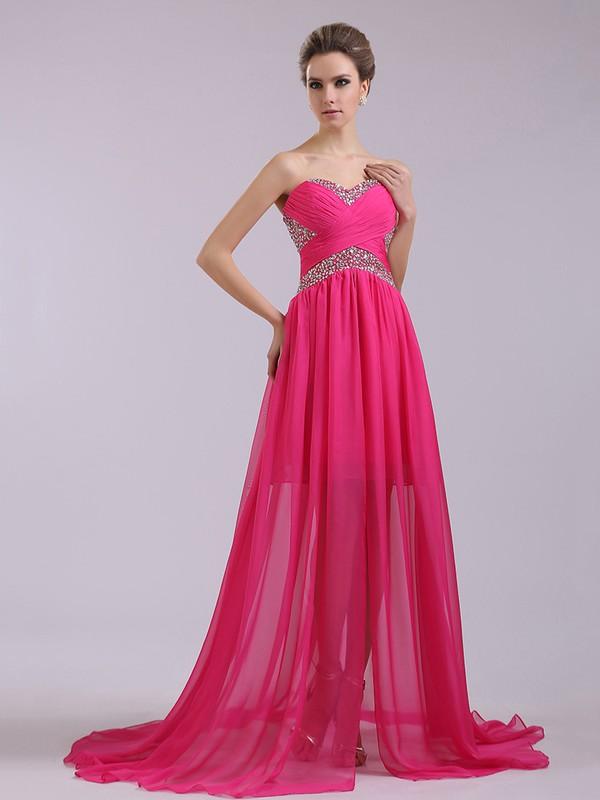 A-line Fuchsia Chiffon Beading and Criss Cross Sweetheart Nice Prom Dresses #JCD02014371