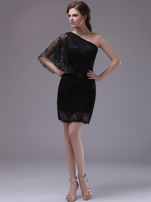 Short One Shoulder 1/2 Sleeve Sheath/Column Black Lace Prom Dresses #JCD02042253