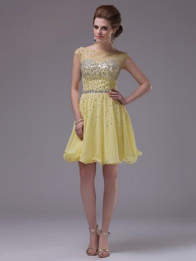 Nicest Daffodil Chiffon Tulle Cap Straps Sequins Short/Mini Prom Dress #JCD02042245