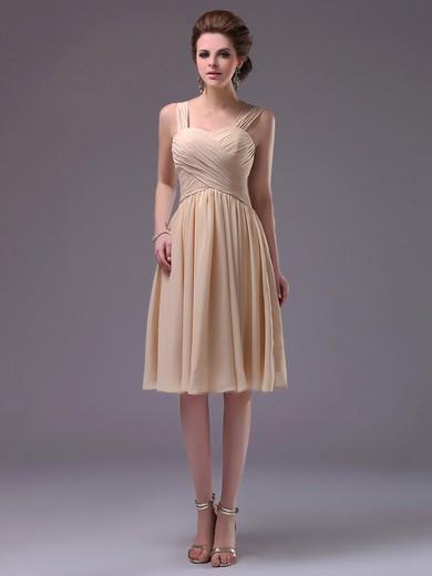 Knee-length Champagne Sweetheart Chiffon Pleats Beautiful Prom Dress #JCD02042249