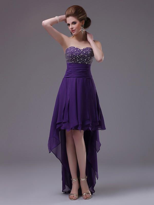 Wholesale Asymmetrical Chiffon with Beading Grape High Low Prom Dress #JCD02051677