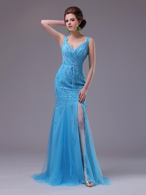 Top Blue Chiffon Tulle Sequins V-neck Trumpet/Mermaid Split Front Prom Dress #JCD02023231