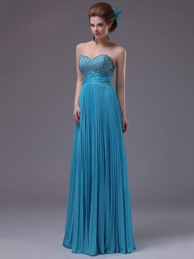 Sweetheart Blue Chiffon with Beading Floor-length Pretty Prom Dress #JCD02060456