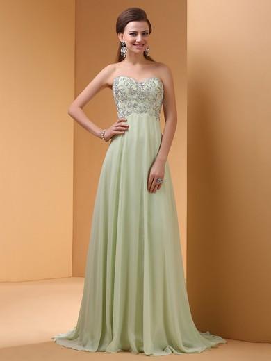 Sweetheart Sweep Train Sage Chiffon Beading Affordable Evening Dresses #JCD02060457