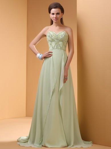 Nice Sage Chiffon Sweetheart with Beading Sweep Train Prom Dress #JCD02014413
