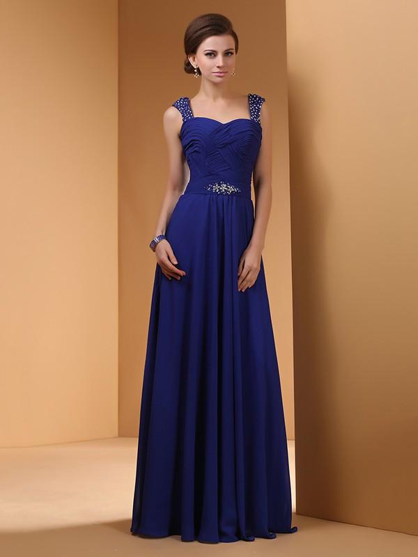 Chiffon with Crystal Detailing Sweetheart Girls Royal Blue Prom Dress #JCD02060462