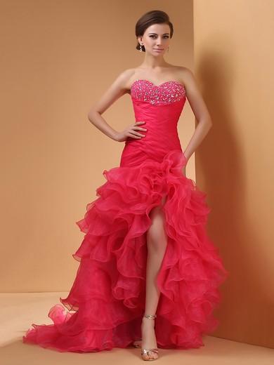 Trumpet/Mermaid Watermelon Organza Beading Lace up Split Front Pretty Prom Dress #JCD02014420