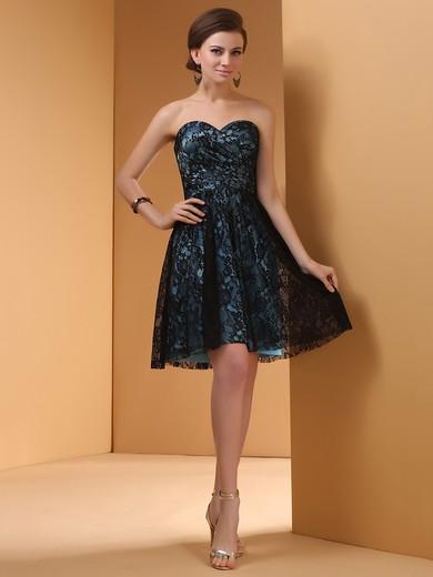 Popular Black Silk-like Satin Sweetheart Short/Mini Lace Prom Dress #JCD02042256