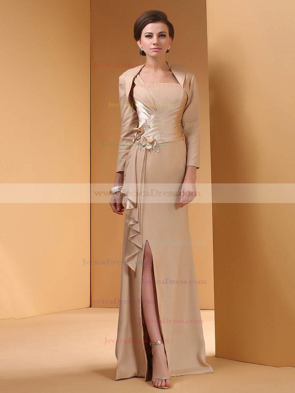 Sheath/Column Split Front Silk-like Satin Square Neckline Prom Dress #JCD01021306