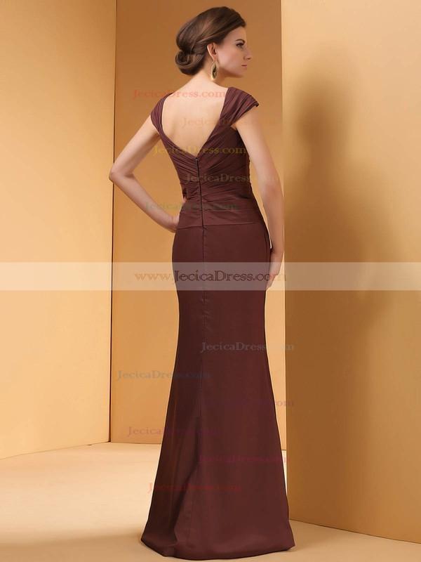 Off-the-shoulder Chiffon Sheath/Column Crystal Brooch Cap Straps Prom Dress #JCD01021303