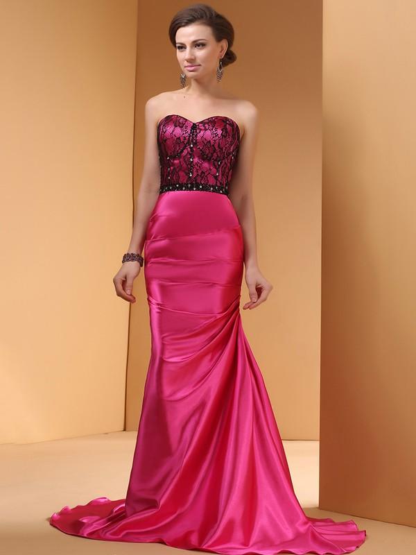 Top Court Train Fuchsia Silk-like Satin Lace Trumpet/Mermaid Prom Dress #JCD02014443