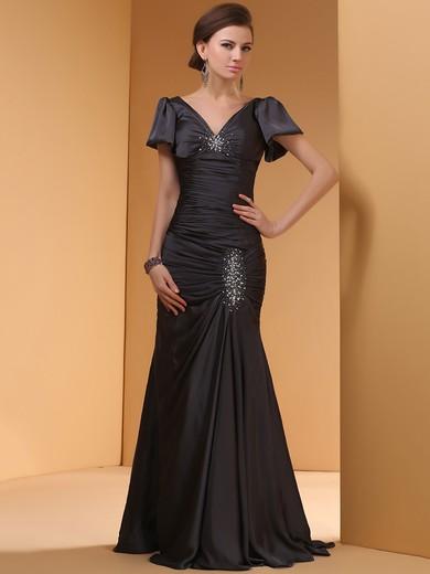 Trumpet/Mermaid Beading Short Sleeve V-neck Black Satin Prom Dress #JCD02014445