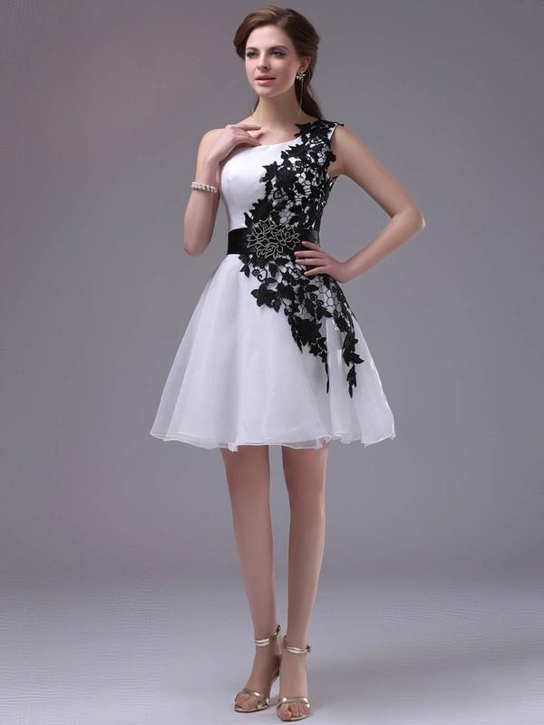 Simple Short/Mini Multi Colours Organza Appliques Lace One Shoulder Prom Dress #JCD02042244