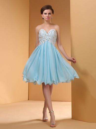 Blue Chiffon Empire Knee-length Appliques Lace Wholesale Prom Dresses #JCD02051145